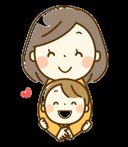 笑顔のお母さんと男の子クリア